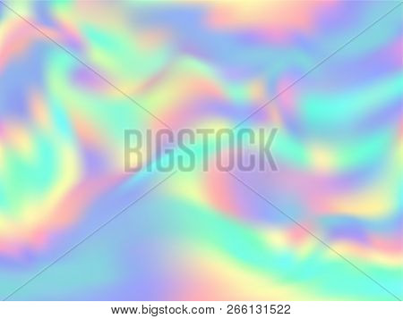 Holographic Paper Magic Background In Neon Colors. Fashion Magazine Cover Background With Neon Metal