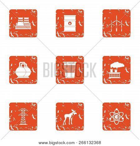 Hazardous Environment Icons Set. Grunge Set Of 9 Hazardous Environment Icons For Web Isolated On Whi
