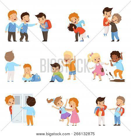 Kids Bullying The Weaks Set, Boys And Girls Mocking Classmates, Bad Behavior, Conflict Between Child