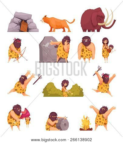 Primitive people  in stone age cartoon icons set with cavemen pelt with weapon and ancient animals isolated vector illustration poster