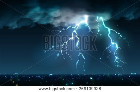 Realistic Lightning Bolts Flashes Composition With View Of Night City Sky With Clouds And Thunderbol