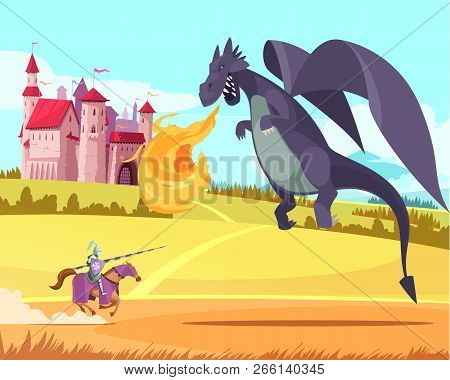 Hero Knight Ridder Fighting Fierce Huge Fierce Dragon In Front Of Medieval Kingdom Castle Cartoon Ve