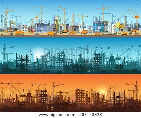 Horizontal Banner Of City Or Website Construction. Tractors, Grader, Bulldozers, Excavators And Towe