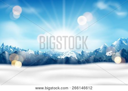 Sunny Mountain Range With Fog And Snow Background. Blue Mountain Landscape For Travel, Tourism And H