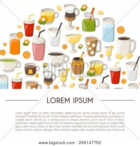 Vector Illustration With Cartoon Non-alcoholic Beverages Background. Glasses With Cartoon Drinks: Wa
