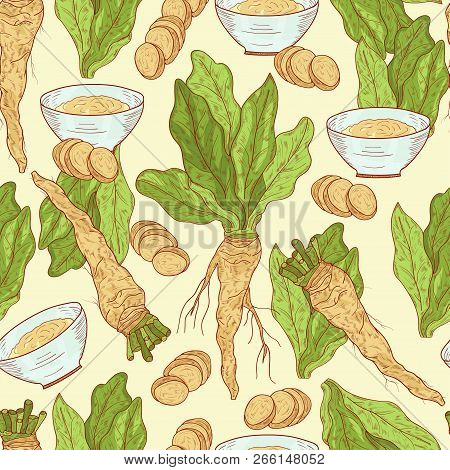 Horseradish. Plant. Leaves, Root. Background, Wallpaper, Texture, Seamless. Sketch, Color.