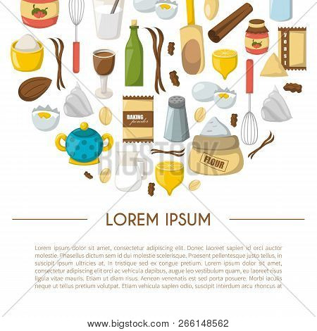 Vector Cartoon Illustration With Baking Ingredients. Cooking Ingredients Background. Vector Cartoon