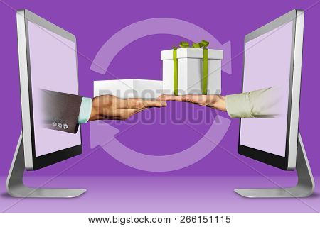 Electronic Concept, Hands From Computers. Hand With White Tablet Computer Box And Hand With Gift Box