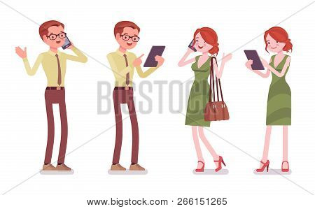 Male And Female Clerk With Gadgets. Young Man And Woman, Employee On Calls, Interacts With Clients B