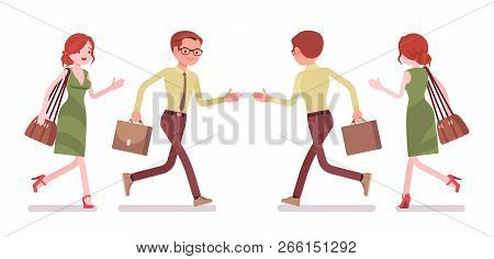 Male And Female Clerk Running. Young Man And Woman, Employee Busy With Message Delivery, Errands, Hu