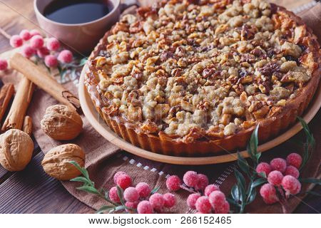 gingerbread tart with apples and nuts - Christmas time