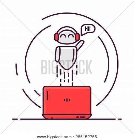 Robot With Laptop Flies Up, Smiling, And Say Hi. Happy Bot With Headphones. Chat Bot Or Online Commu