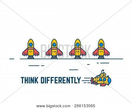 Think Different Banner. Yellow Submarine Swimming Underwater. Rockets Waiting To Launch. Unusual Sol
