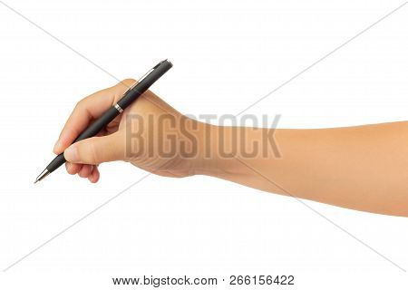 Human hand in reach out one's hand and  and writing or drawing with black ballpoint pen gesture isolate on white background with clipping path, High resolution and low contrast for retouch or graphic design