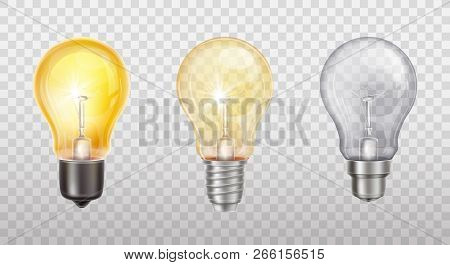 Vector Realistic Set With Incandescent Lamps, Glowing Yellow Light Bulbs, Isolated On Transparent Ba