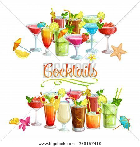 Alcoholic Cocklails Banners. Summer Beach Alcoholic Drinks. Holiday And Beach Party Vector Backgroun
