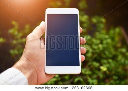 Hand Holding Smart Phone ,mobile Phone Technology Internet Online Business Marketing Communication C
