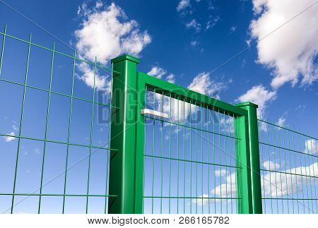 Grating Wire Industrial Fence Panels And Gate With Clouds Sky Background, Pvc Metal Fence Panel. 3d