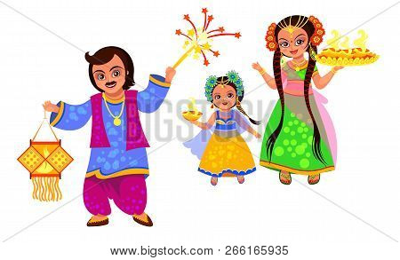 Diwali Holiday And Family Celebrating Hindu Feast