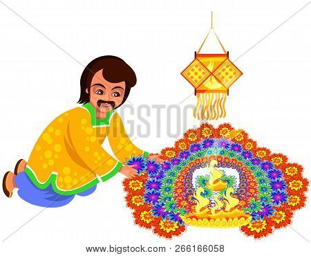 Diwali Indian Holiday With Father Creating Rangoli