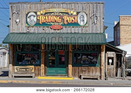 Custer, South Dakota, September 16, 2018 : The Old Trading Post In Custer. A Trading Post Was An Est