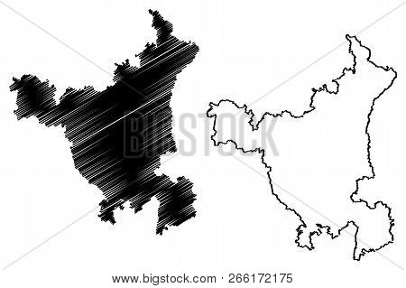 Haryana (states And Union Territories Of India, Federated States, Republic Of India) Map Vector Illu