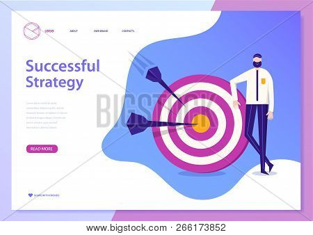 Vector Successful Busines Strategy Concept. Web Page, Poster, Flyer. Man Standing Near The Target Wi