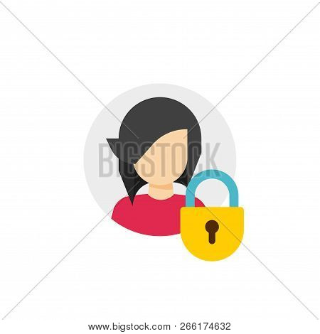 Personal Account Private Protection Or Locked Vector Icon, Flat Cartoon Person Profile Protected Via