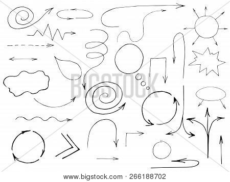 Vector Set Of Hand Drawn Arrows And Pointers. Isolated On White Background.