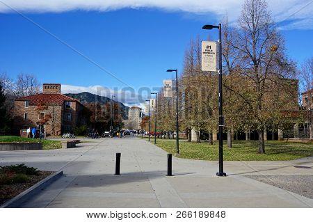 October 27, 2018 - Boulder, Colorado, Usa - University Of Colorado Boulder Campus, Showing Banner Hi