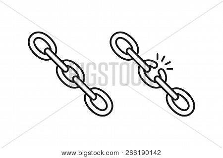 Black Isolated Outline Icon Of Chain And Broken Chain On White Background. Set Of Line Icon Of Chain