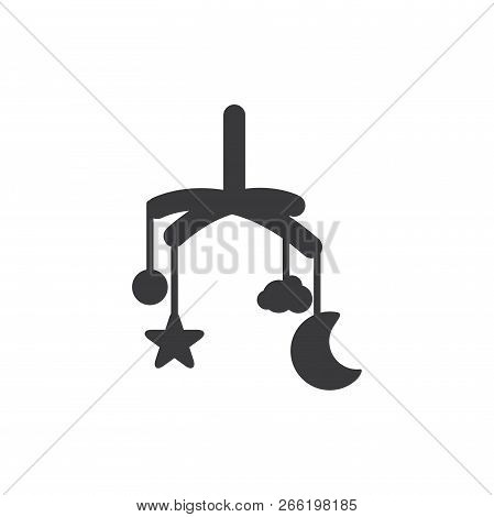 Baby Crib Mobile Toy Vector Icon On White Background. Baby Crib Mobile Toy Icon In Modern Design Sty