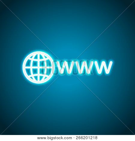 Symbol Of Internet With Globe And Www. Neon Style. Light Decoration Icon. Bright Electric Symbol