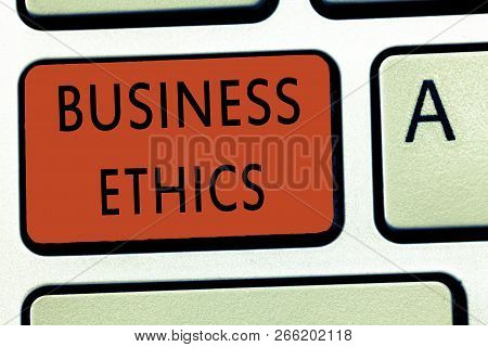 Word writing text Business Ethics. Business concept for Moral principles that guide the way a business behaves poster