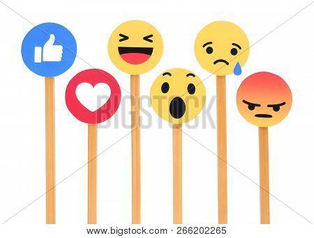 Kiev, Ukraine - September 27, 2018: Facebook Like Button 6 Empathetic Emoji Reactions Printed On Pap