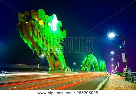 Da Nang, Vietnam - September 30: The Dragon Bridge (cau Rong) With Green-colored Illumination At Nig