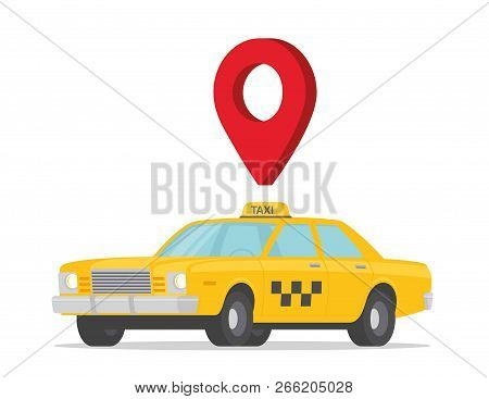 Taxi Cab Map Pointer. Taxi Car Flat Style - Stock Vector.