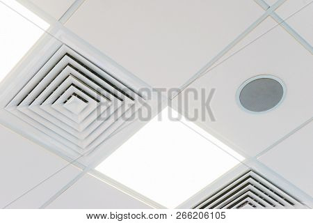 Design And Details Of The Modern Device Ceilings In The Room. Devices For Ventilation And Air Condit