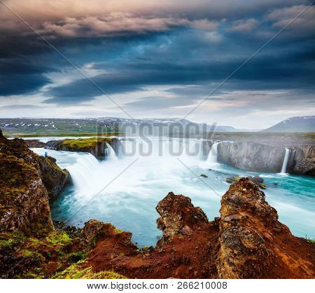 Amazing view of famous Godafoss cascade. Location place Bardardalur valley, Skjalfandafljot river, Iceland, Europe. Scenic image of most popular tourist attraction. Discover the beauty of earth.