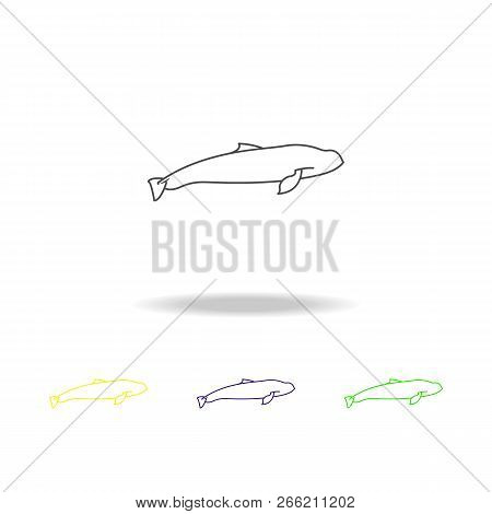 Harbour Porpoise Multicolored Icons. Element Of Popular Sea Animals Icon. Signs And Symbols Outline