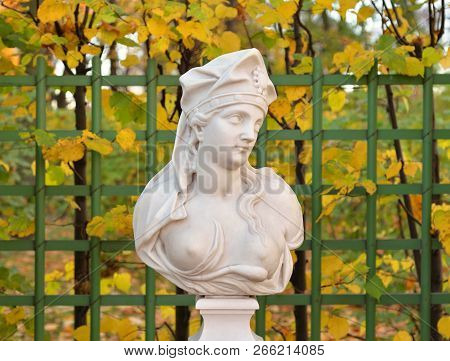 The Samian Sibyl Statue At Autumn Evening In Saint Petersburg, Russia. Sibyl In The Ancient Culture