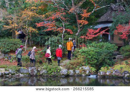 Nara, Japan - November 23, 2016: Tourists Visit Isuien Garden Wearing Kimono Costume In Nara, Japan.