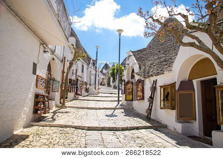 Town Of Alberobello, Village With Trulli Houses In Puglia Apulia Region, Southern Italy