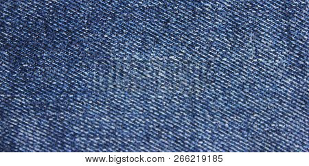Jean Background Blue Denim Pattern. Classic Jeans Texture Fabric Close Up View Of Empty Natural Jean