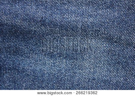Denim Jean Fabric Texture Background. Dark Blue Vintage Jeans Close Up, Natural Pattern Of Linen Vib
