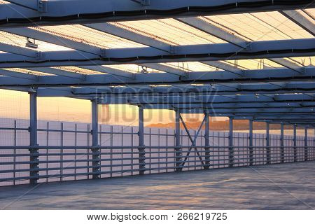 Urban Architecture Abstract Street Passageway Outdoors. Modern Structure Of Empty Bridge Road On Eve