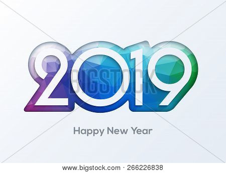 Happy New Year 2019 Numbers Design Vector. 2019 Greeting Card Banner.