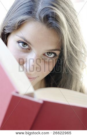 Girl read a book poster