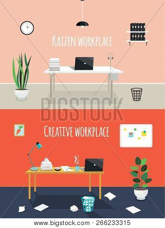 Kaizen Work Place And Creative Work Place. Chaos Or Cleanness In Your Office Room. Two Styles Of Wor