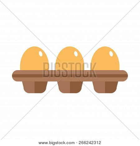 Chicken eggs in a carton. Cardboard egg tray with brown eggs, front view. Vector illustration, EPS 10. poster